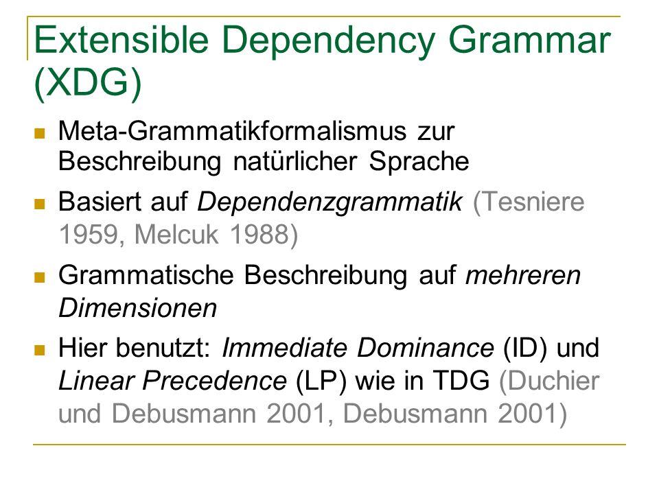 Extensible Dependency Grammar (XDG) Meta-Grammatikformalismus zur Beschreibung natürlicher Sprache Basiert auf Dependenzgrammatik (Tesniere 1959, Melcuk 1988) Grammatische Beschreibung auf mehreren Dimensionen Hier benutzt: Immediate Dominance (ID) und Linear Precedence (LP) wie in TDG (Duchier und Debusmann 2001, Debusmann 2001)