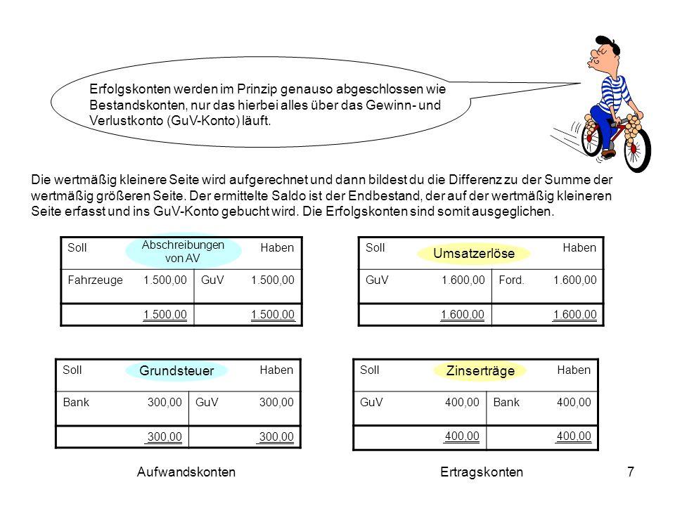 8 Die Abschlussbuchungen lauten wie folgt: Aufwandskonten: GuV an Abschreibungen von SA 1.500,00 GuV an Grundsteuer 300,00 Ertragskonten: Umsatzerlöse an GuV 1.600,00 Zinserträge an GuV 400,00 SollGuV Haben Abschreibung von SA Grundsteuer 1.500,00 300,00 Umsatzerlöse Zinserträge 1.600,00 400,00 2.000,00 __________________________________________________________________________________________ 2.000,00 ___________________________________________________________________________________________ Das GuV-Konto muss jetzt auch – wie die Erfolgskonten – abgeschlossen werden: GuV an Eigenkapital 200,00 200 Gewinn [Hättest du 200 Verlust gemacht, würde der Buchungssatz lauten: Eigenkapital an GuV 200 ] Eigenkapital 200,00 Gewinn bzw.