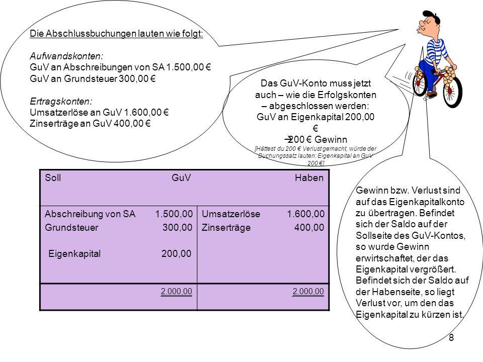 8 Die Abschlussbuchungen lauten wie folgt: Aufwandskonten: GuV an Abschreibungen von SA 1.500,00 GuV an Grundsteuer 300,00 Ertragskonten: Umsatzerlöse