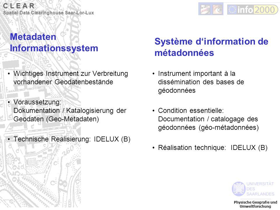 Metadaten Informationssystem Wichtiges Instrument zur Verbreitung vorhandener Geodatenbestände Voraussetzung: Dokumentation / Katalogisierung der Geod