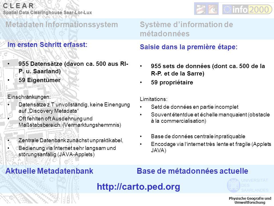 Im ersten Schritt erfasst: 955 Datensätze (davon ca. 500 aus Rl- P. u. Saarland) 59 Eigentümer Einschränkungen: Datensätze z.T unvollständig, keine Ei