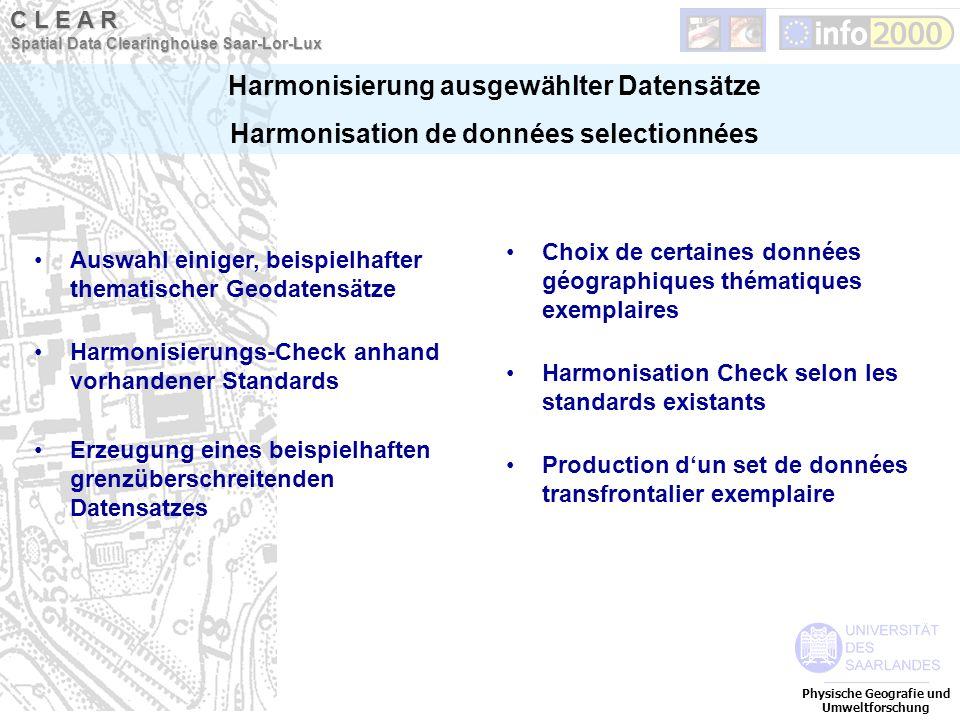 Auswahl einiger, beispielhafter thematischer Geodatensätze Harmonisierungs-Check anhand vorhandener Standards Erzeugung eines beispielhaften grenzüber