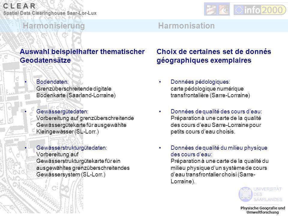 Auswahl beispielhafter thematischer Geodatensätze Bodendaten: Grenzüberschreitende digitale Bodenkarte (Saarland-Lorraine) Gewässergütedaten: Vorberei