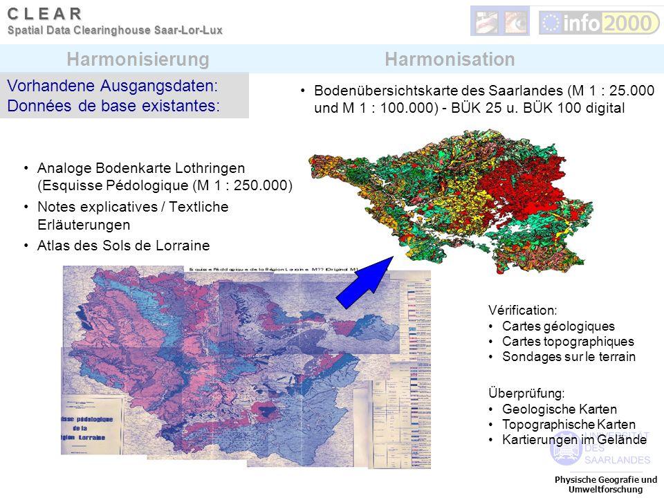 Physische Geografie und Umweltforschung C L E A R Spatial Data Clearinghouse Saar-Lor-Lux Analoge Bodenkarte Lothringen (Esquisse Pédologique (M 1 : 2