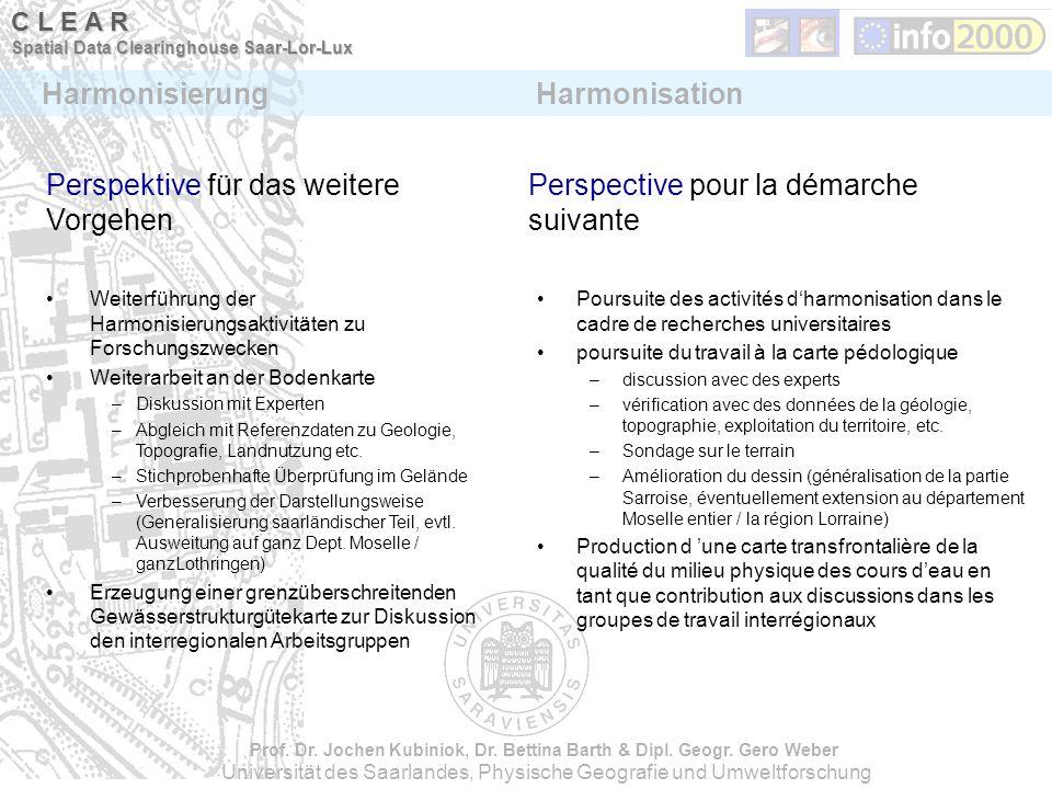 Perspective pour la démarche suivante Perspektive für das weitere Vorgehen Weiterführung der Harmonisierungsaktivitäten zu Forschungszwecken Weiterarb