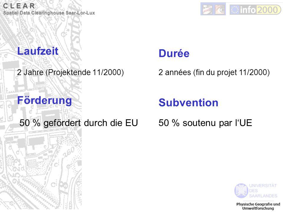 Laufzeit 2 Jahre (Projektende 11/2000) Förderung 50 % gefördert durch die EU Physische Geografie und Umweltforschung C L E A R Spatial Data Clearingho