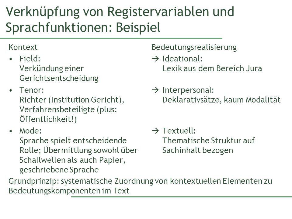 Verknüpfung von Registervariablen und Sprachfunktionen: Beispiel Kontext Field: Verkündung einer Gerichtsentscheidung Tenor: Richter (Institution Geri