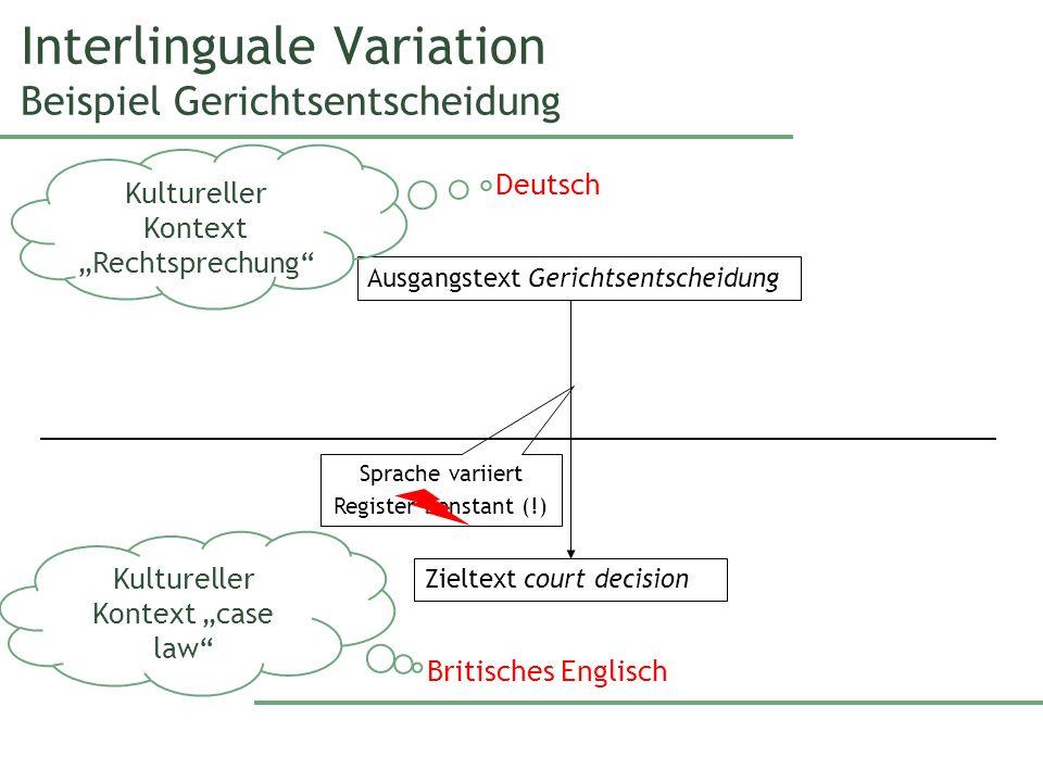Interlinguale Variation Beispiel Gerichtsentscheidung Ausgangstext Gerichtsentscheidung Deutsch Zieltext court decision Britisches Englisch Sprache va