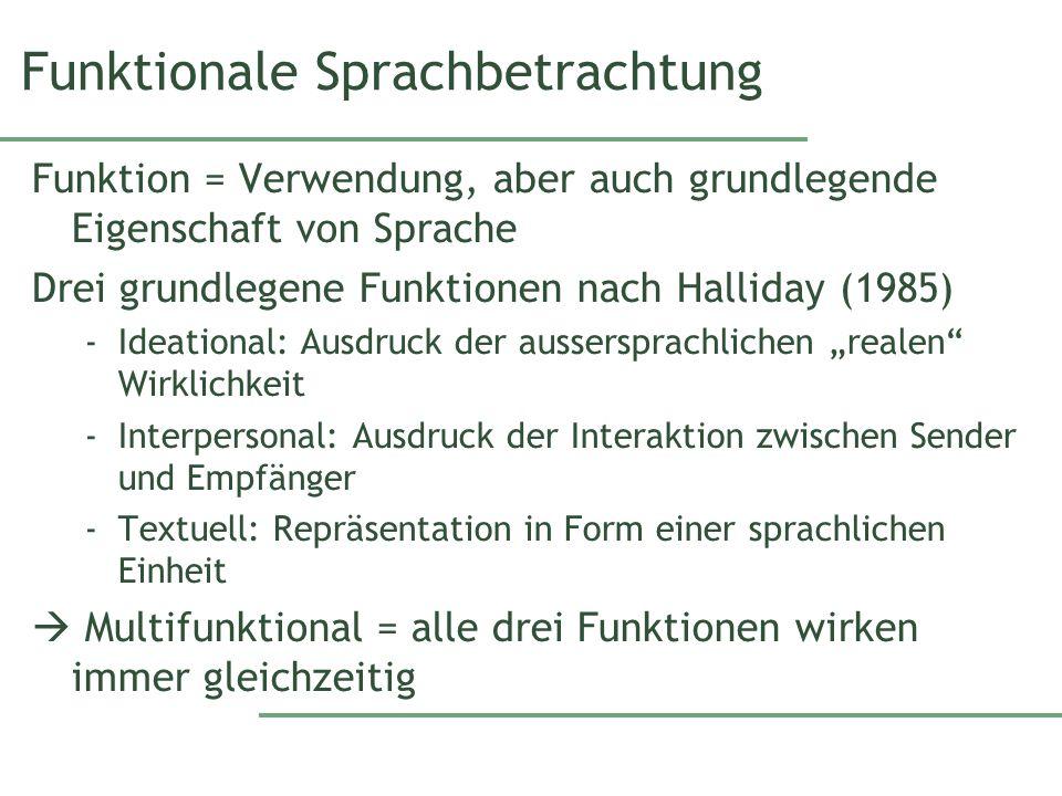 Funktionale Sprachbetrachtung Funktion = Verwendung, aber auch grundlegende Eigenschaft von Sprache Drei grundlegene Funktionen nach Halliday (1985) -