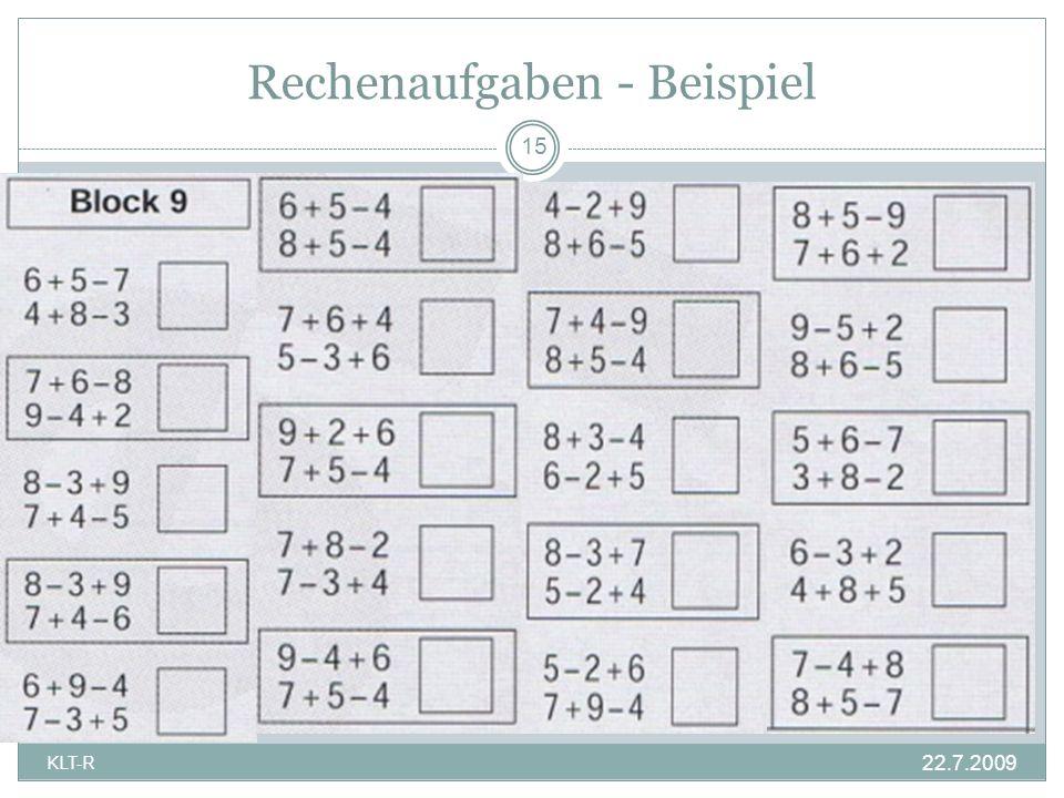 Rechenaufgaben - Beispiel 15 KLT-R 22.7.2009