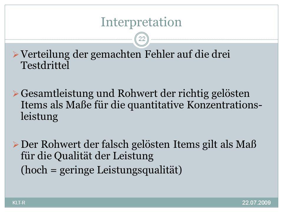 Interpretation Verteilung der gemachten Fehler auf die drei Testdrittel Gesamtleistung und Rohwert der richtig gelösten Items als Maße für die quantit
