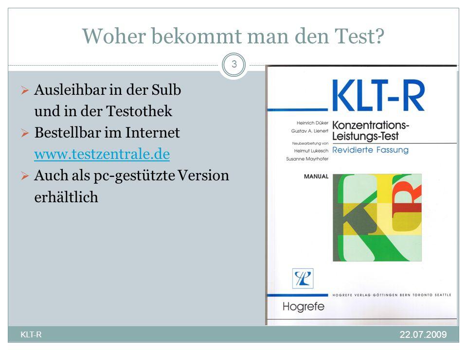 Rechenaufgaben Insgesamt 9 solcher Blöcke sind pro Test zu bearbeiten 14 KLT-R