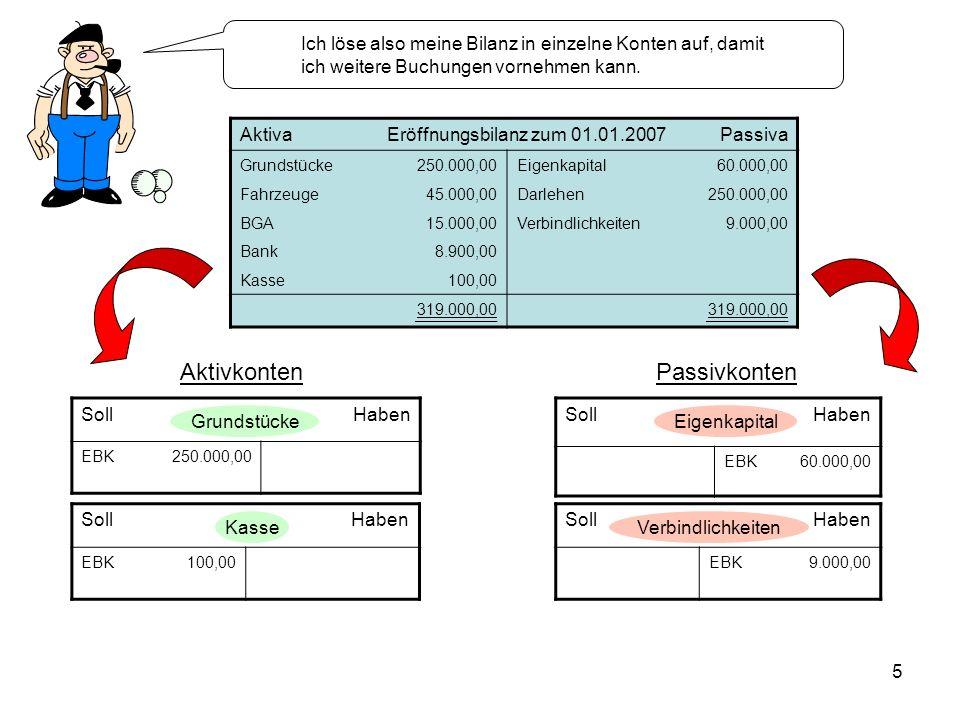 5 SollHaben EBK250.000,00 AktivaEröffnungsbilanz zum 01.01.2007Passiva Grundstücke250.000,00Eigenkapital60.000,00 Fahrzeuge45.000,00Darlehen250.000,00