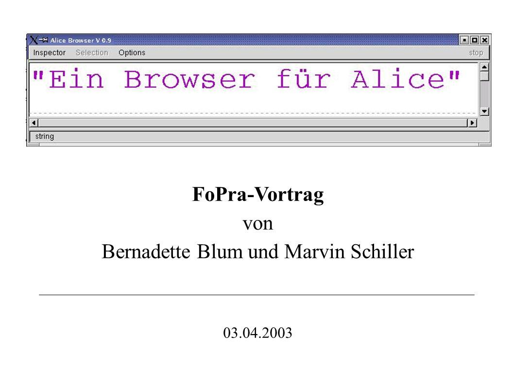 FoPra-Vortrag von Bernadette Blum und Marvin Schiller 03.04.2003