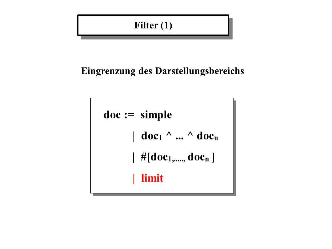 Filter (1) Eingrenzung des Darstellungsbereichs doc := simple | doc 1 ^... ^ doc n | #[doc 1,....., doc n ] | limit