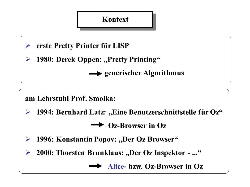 Kontext erste Pretty Printer für LISP 1980: Derek Oppen: Pretty Printing generischer Algorithmus am Lehrstuhl Prof. Smolka: 1994: Bernhard Latz: Eine