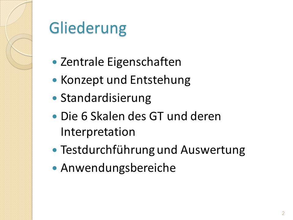 Gliederung Zentrale Eigenschaften Konzept und Entstehung Standardisierung Die 6 Skalen des GT und deren Interpretation Testdurchführung und Auswertung