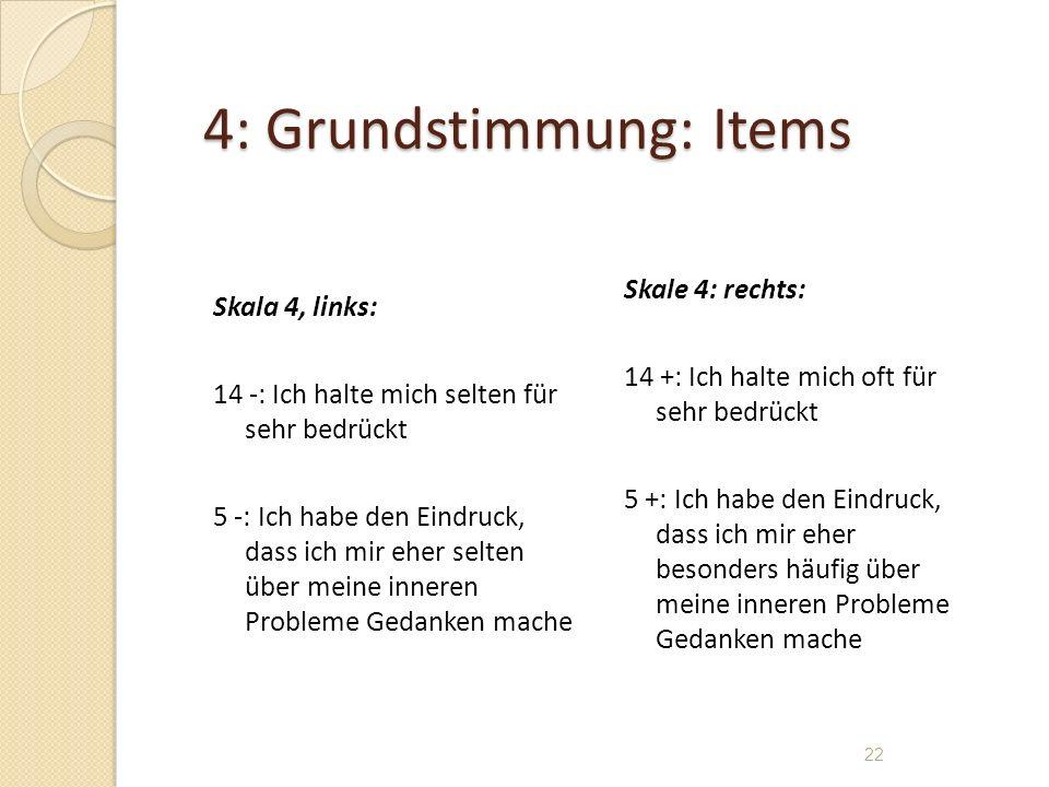 4: Grundstimmung: Items Skala 4, links: 14 -: Ich halte mich selten für sehr bedrückt 5 -: Ich habe den Eindruck, dass ich mir eher selten über meine