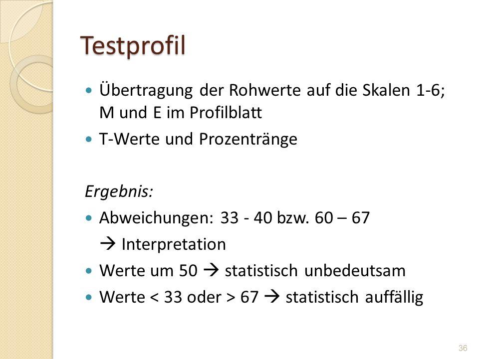 Testprofil Übertragung der Rohwerte auf die Skalen 1-6; M und E im Profilblatt T-Werte und Prozentränge Ergebnis: Abweichungen: 33 - 40 bzw. 60 – 67 I