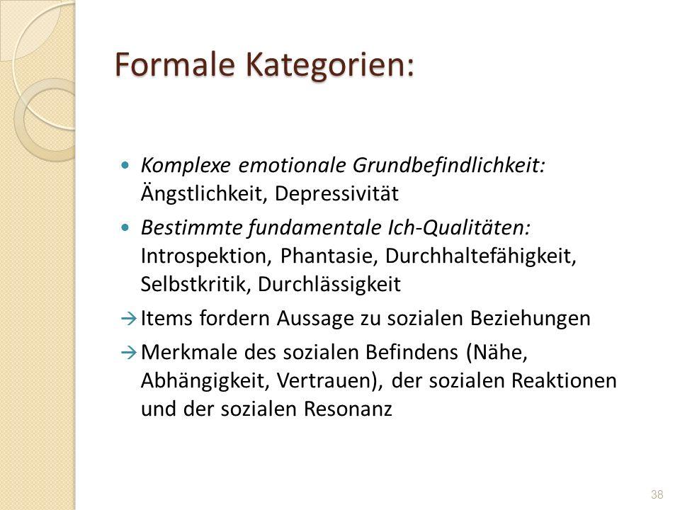 Formale Kategorien: Komplexe emotionale Grundbefindlichkeit: Ängstlichkeit, Depressivität Bestimmte fundamentale Ich-Qualitäten: Introspektion, Phanta