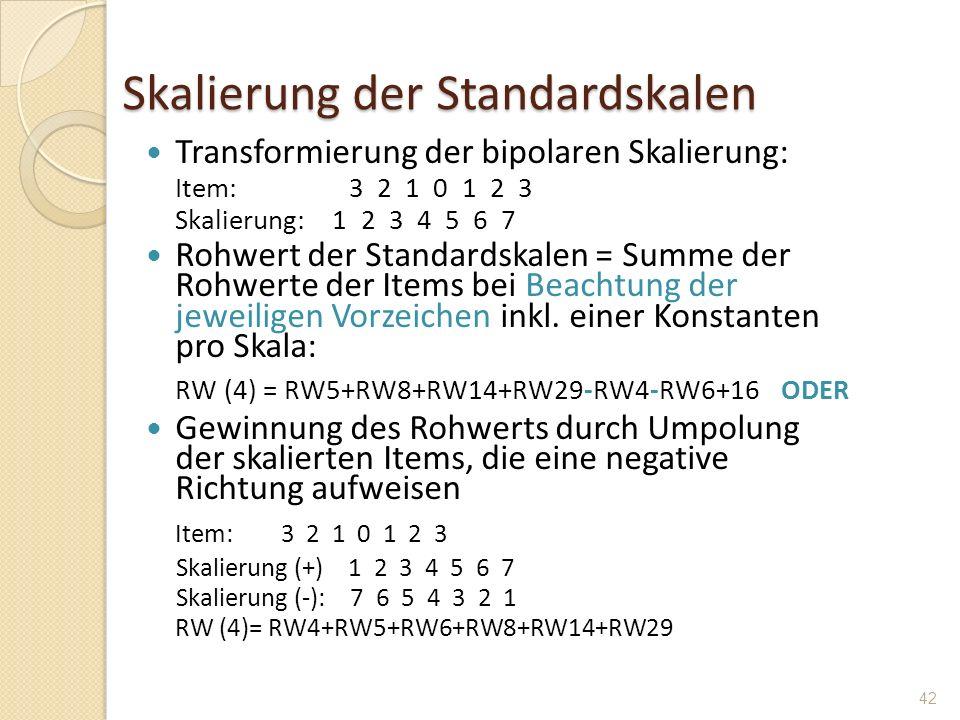 Skalierung der Standardskalen Transformierung der bipolaren Skalierung: Item: 3 2 1 0 1 2 3 Skalierung: 1 2 3 4 5 6 7 Rohwert der Standardskalen = Sum