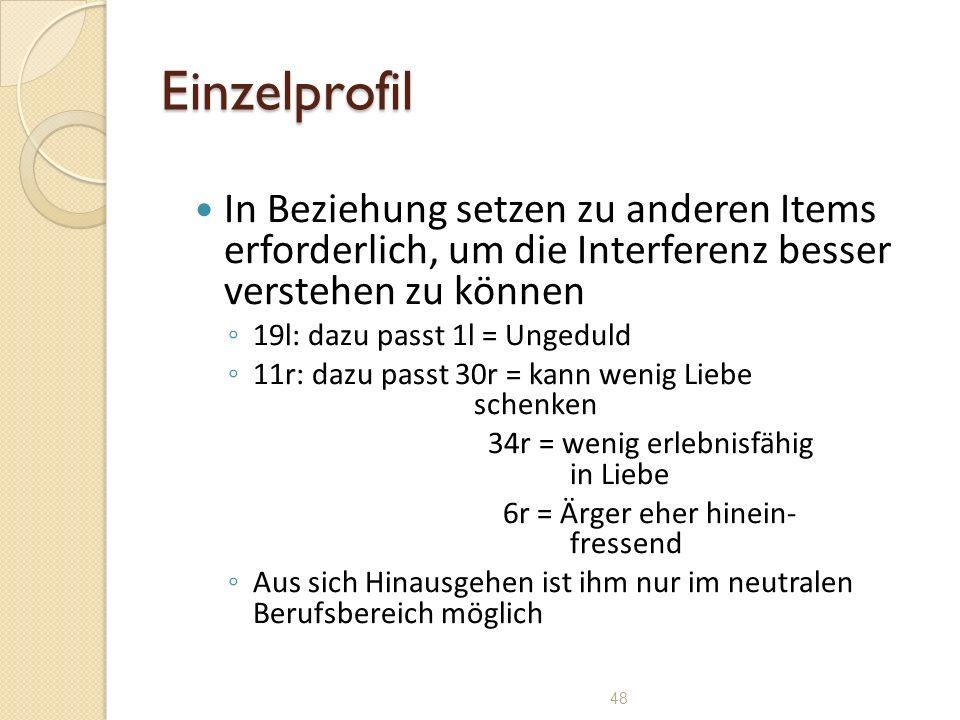 48 Einzelprofil In Beziehung setzen zu anderen Items erforderlich, um die Interferenz besser verstehen zu können 19l: dazu passt 1l = Ungeduld 11r: da