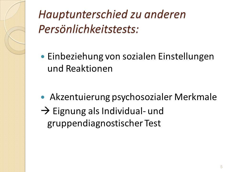 Hauptunterschied zu anderen Persönlichkeitstests: Einbeziehung von sozialen Einstellungen und Reaktionen Akzentuierung psychosozialer Merkmale Eignung