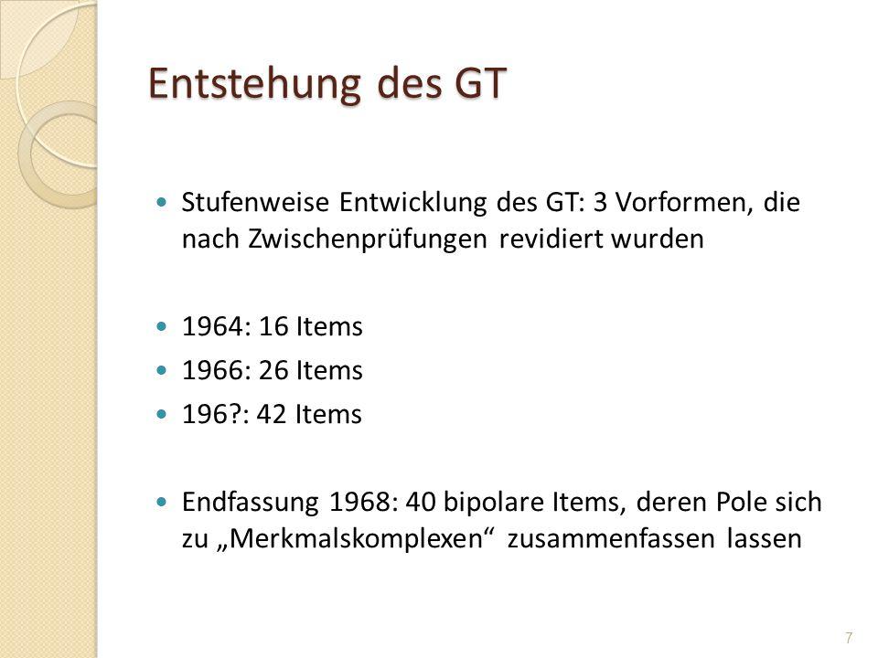 Entstehung des GT Stufenweise Entwicklung des GT: 3 Vorformen, die nach Zwischenprüfungen revidiert wurden 1964: 16 Items 1966: 26 Items 196?: 42 Item