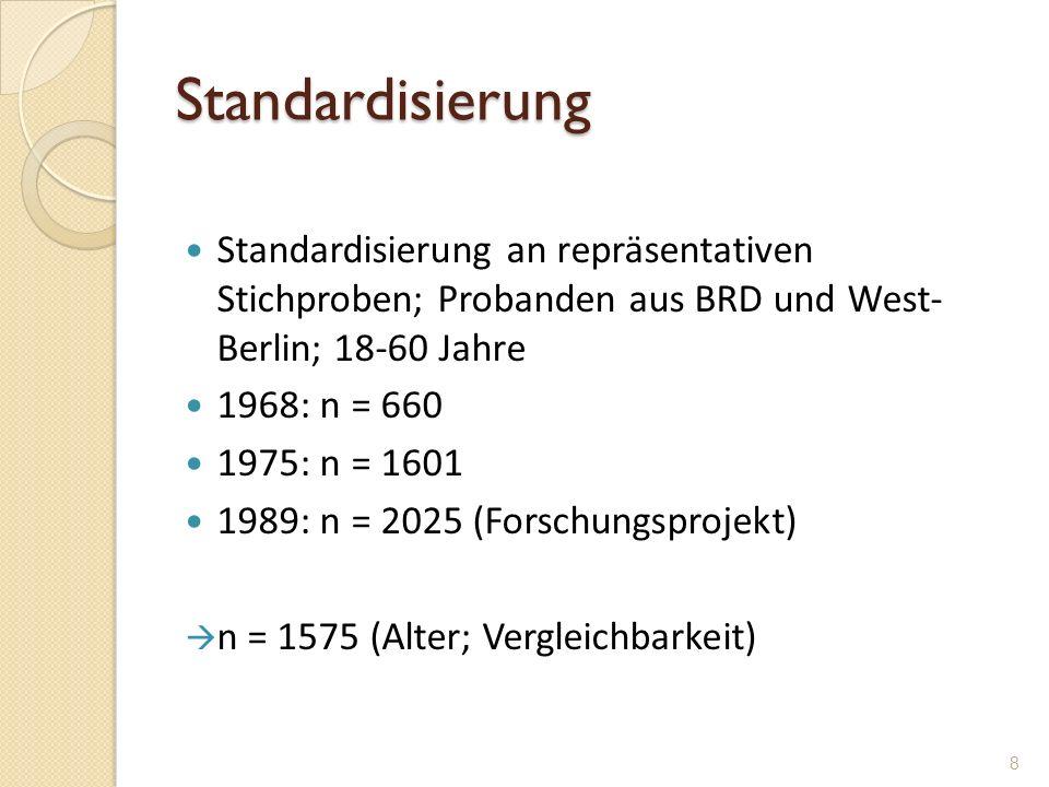 Standardisierung Standardisierung an repräsentativen Stichproben; Probanden aus BRD und West- Berlin; 18-60 Jahre 1968: n = 660 1975: n = 1601 1989: n