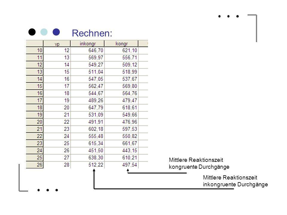 Mittlere Reaktionszeit inkongruente Durchgänge Mittlere Reaktionszeit kongruente Durchgänge Rechnen: