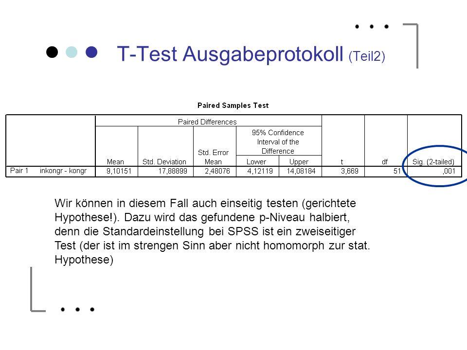 T-Test Ausgabeprotokoll (Teil2) Wir können in diesem Fall auch einseitig testen (gerichtete Hypothese!). Dazu wird das gefundene p-Niveau halbiert, de