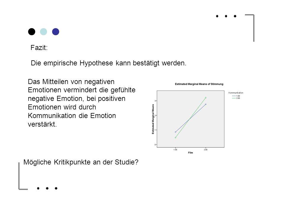 Fazit: Die empirische Hypothese kann bestätigt werden. Das Mitteilen von negativen Emotionen vermindert die gefühlte negative Emotion, bei positiven E
