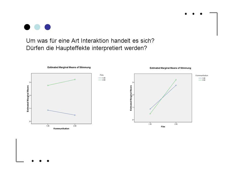 Um was für eine Art Interaktion handelt es sich? Dürfen die Haupteffekte interpretiert werden?