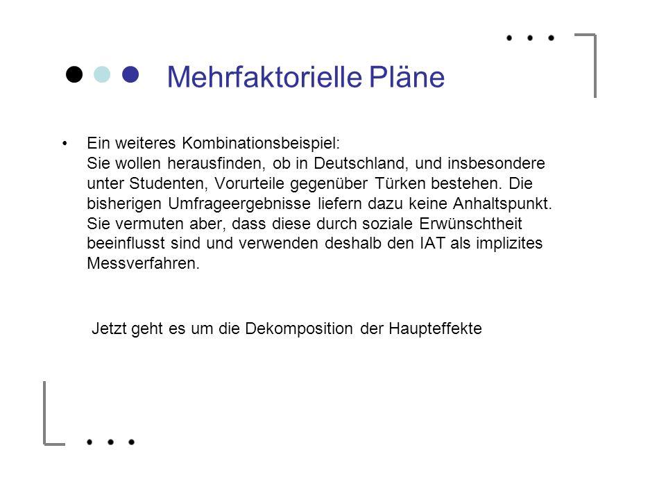 Mehrfaktorielle Pläne Ein weiteres Kombinationsbeispiel: Sie wollen herausfinden, ob in Deutschland, und insbesondere unter Studenten, Vorurteile gege