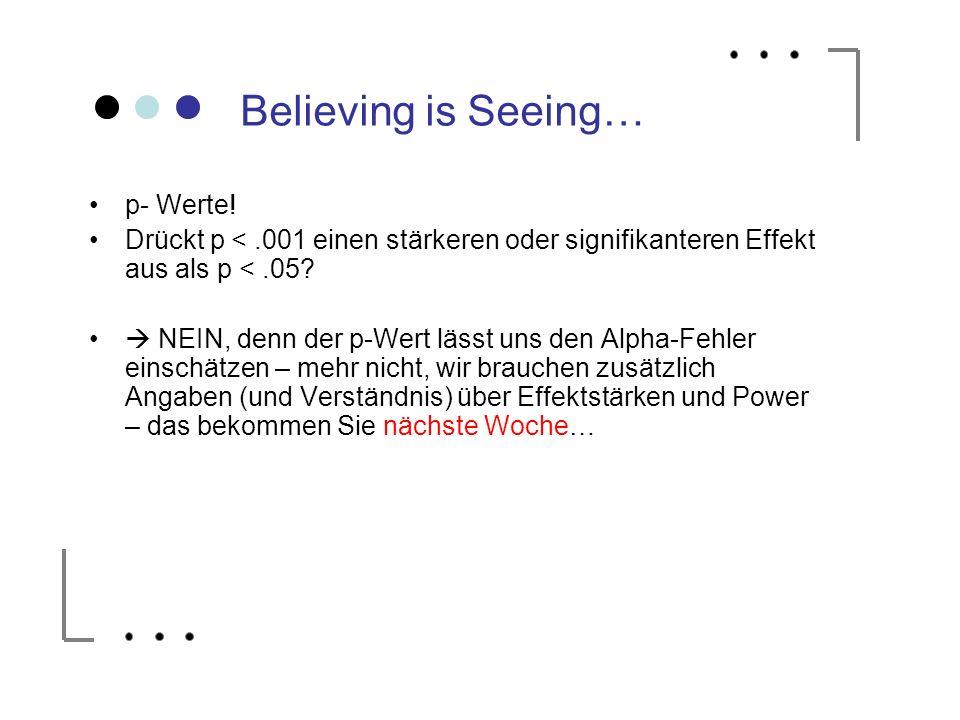 Believing is Seeing… p- Werte! Drückt p <.001 einen stärkeren oder signifikanteren Effekt aus als p <.05? NEIN, denn der p-Wert lässt uns den Alpha-Fe