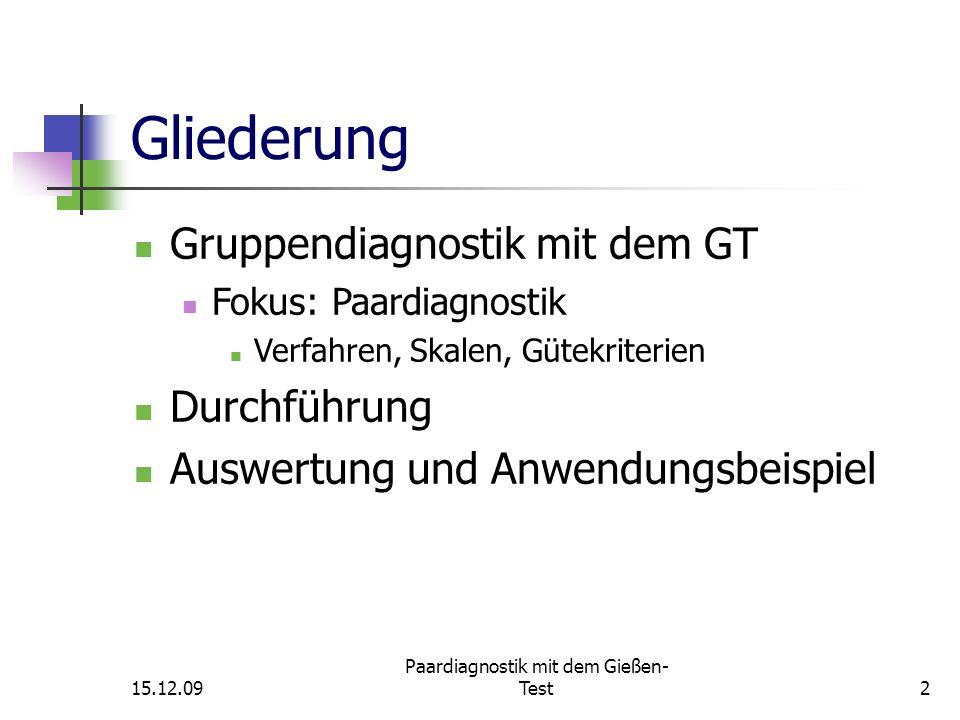 15.12.09 Paardiagnostik mit dem Gießen- Test3 Bibliographische Angaben Testname:Gießen-Test (GT) Version:4.