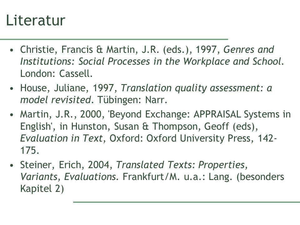 Literatur Christie, Francis & Martin, J.R.