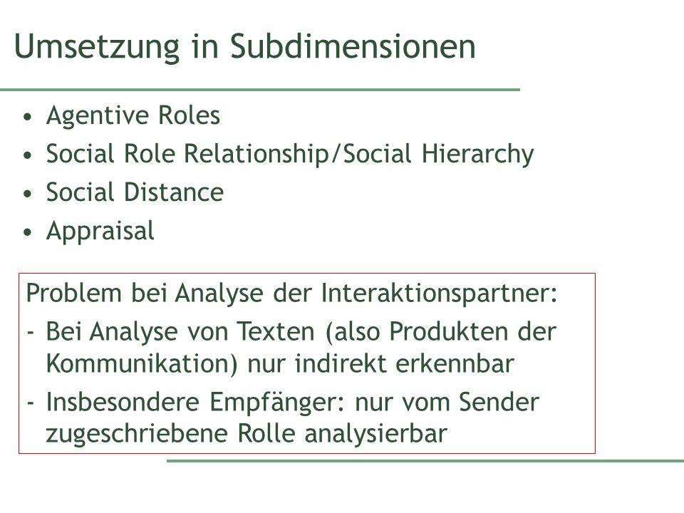Agentive Roles Social Activity bestimmt die agentiven Rollen Sehr allgemeine semiotische Rollen wie z.B.