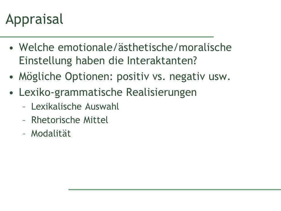 Appraisal Welche emotionale/ästhetische/moralische Einstellung haben die Interaktanten.