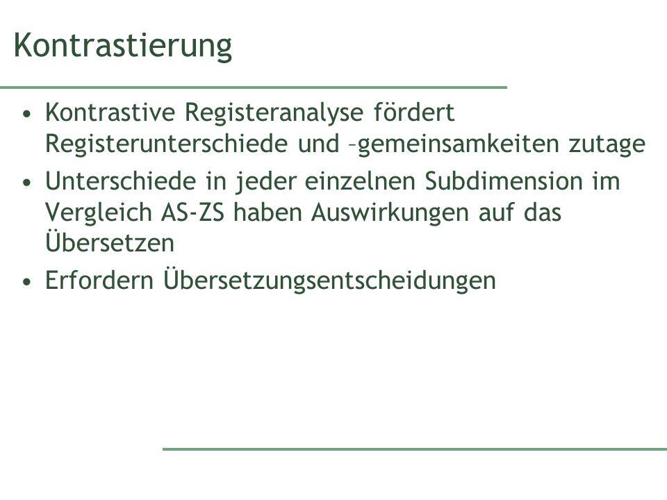 Kontrastierung Kontrastive Registeranalyse fördert Registerunterschiede und –gemeinsamkeiten zutage Unterschiede in jeder einzelnen Subdimension im Ve