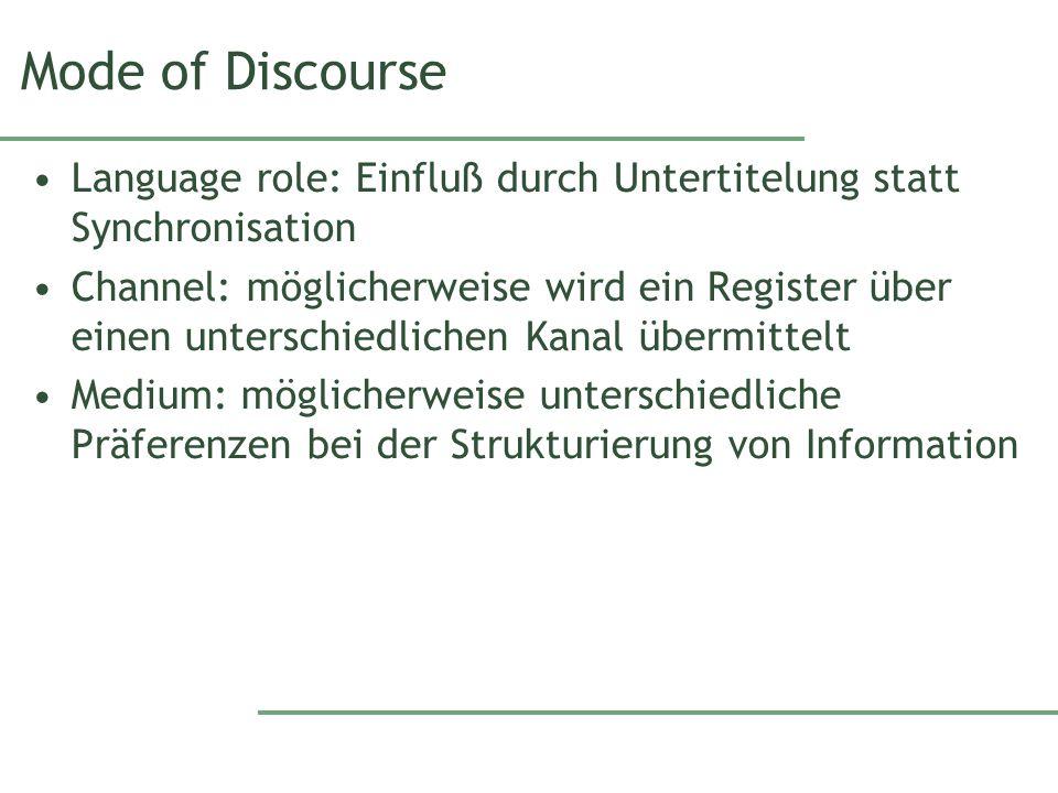 Mode of Discourse Language role: Einfluß durch Untertitelung statt Synchronisation Channel: möglicherweise wird ein Register über einen unterschiedlic