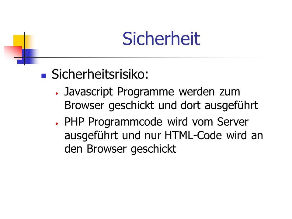 Sicherheit Sicherheitsrisiko: Javascript Programme werden zum Browser geschickt und dort ausgeführt PHP Programmcode wird vom Server ausgeführt und nur HTML-Code wird an den Browser geschickt