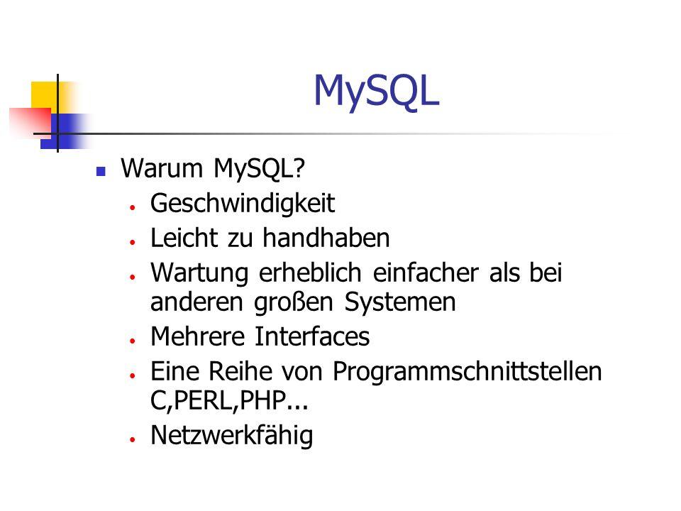 MySQL Warum MySQL? Geschwindigkeit Leicht zu handhaben Wartung erheblich einfacher als bei anderen großen Systemen Mehrere Interfaces Eine Reihe von P