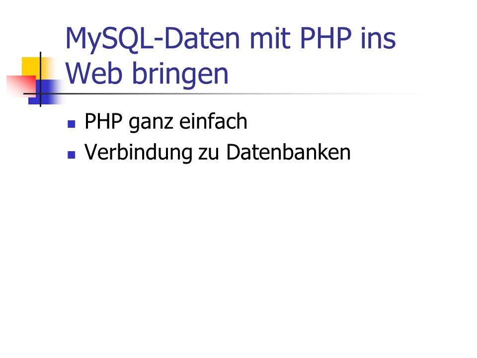MySQL-Daten mit PHP ins Web bringen PHP ganz einfach Verbindung zu Datenbanken