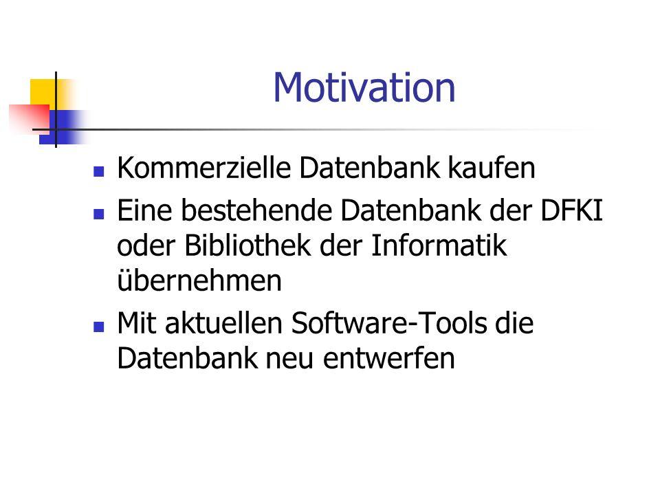 Motivation Kommerzielle Datenbank kaufen Eine bestehende Datenbank der DFKI oder Bibliothek der Informatik übernehmen Mit aktuellen Software-Tools die