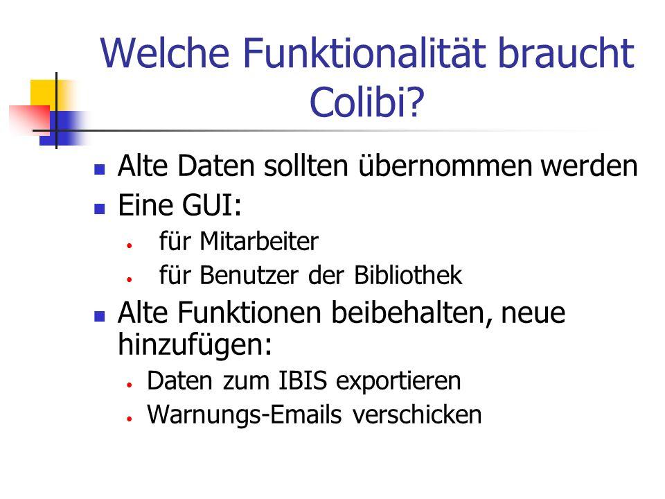 Welche Funktionalität braucht Colibi? Alte Daten sollten übernommen werden Eine GUI: für Mitarbeiter für Benutzer der Bibliothek Alte Funktionen beibe