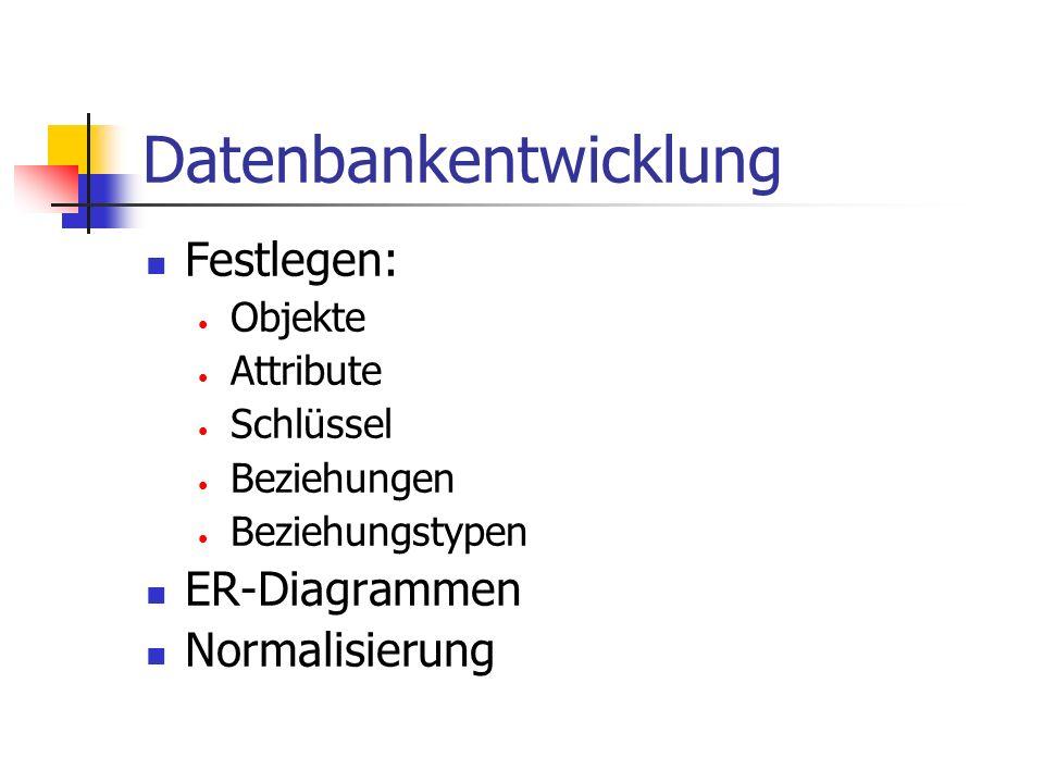 Datenbankentwicklung Festlegen: Objekte Attribute Schlüssel Beziehungen Beziehungstypen ER-Diagrammen Normalisierung