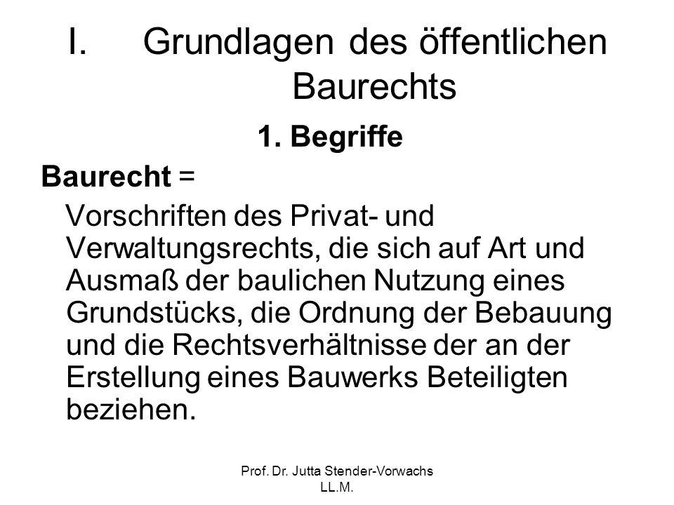 Prof. Dr. Jutta Stender-Vorwachs LL.M. I.Grundlagen des öffentlichen Baurechts 1. Begriffe Baurecht = Vorschriften des Privat- und Verwaltungsrechts,