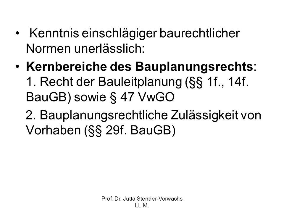 Prof. Dr. Jutta Stender-Vorwachs LL.M. Kenntnis einschlägiger baurechtlicher Normen unerlässlich: Kernbereiche des Bauplanungsrechts: 1. Recht der Bau