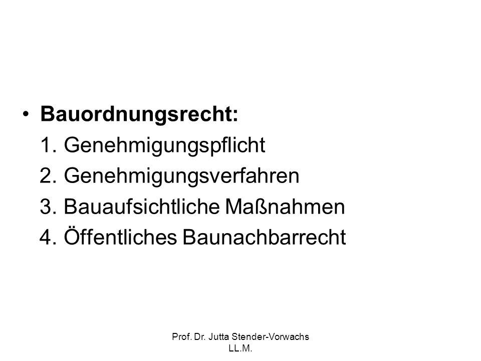 Prof. Dr. Jutta Stender-Vorwachs LL.M. Bauordnungsrecht: 1. Genehmigungspflicht 2. Genehmigungsverfahren 3. Bauaufsichtliche Maßnahmen 4. Öffentliches